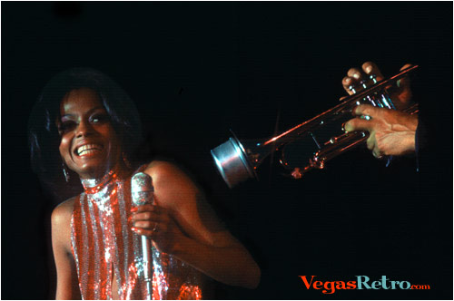 Photo of Diana Ross on stage at Caesars Palace in 1971