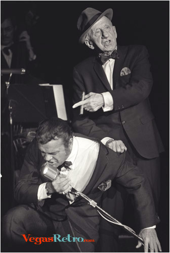 Photo of Jimmy Durante & Sonny King on stage in Las Vegas