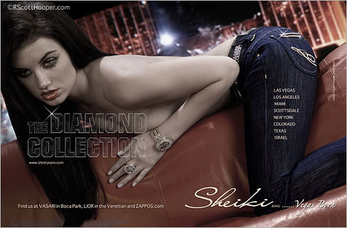 Model in Sheiki Jeans ad from 944 Las Vegas Magazine