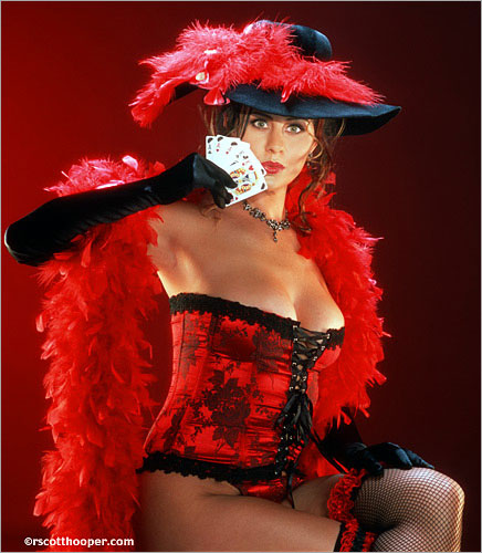 Image of saloon girl in red bustier