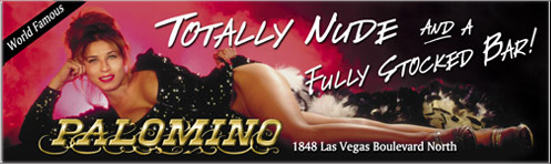 Photo of woman in black gown advertising exotic dancers at the Palomino Club in Las Vegas