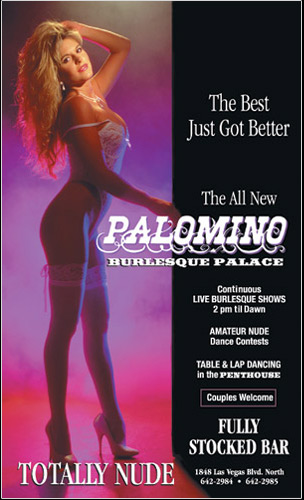 Photo of stripper from Palomino Club in Las Vegas advertising