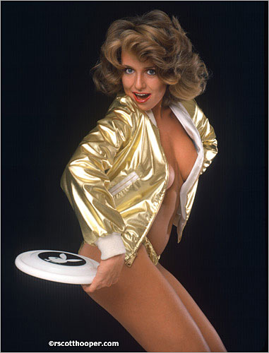 Photo of Playmate Pamela Zinszer with Playboy frisbee
