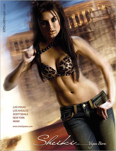 Photo of model on Las Vegas strip in Sheiki Jeans