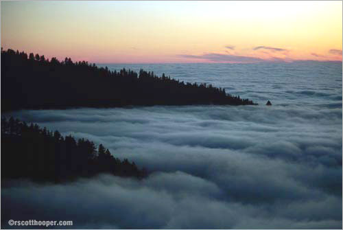 Photo of Big Sur from above the clouds