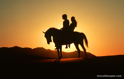 Photo of couple on horse in the sunset