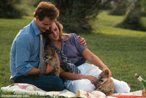Image of couple with cougar kittens