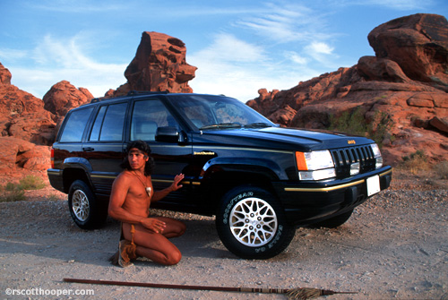 Photo of an American Indian with the Grand Cherokee SUV