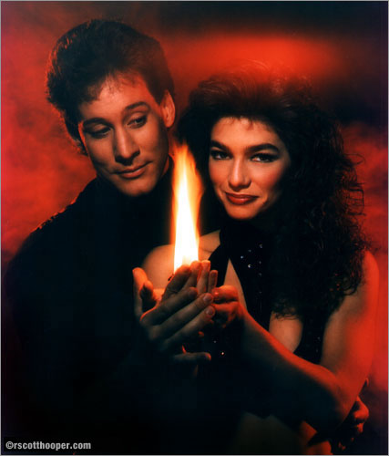 Photo of magicians Mark Kalin & Jinger with fire