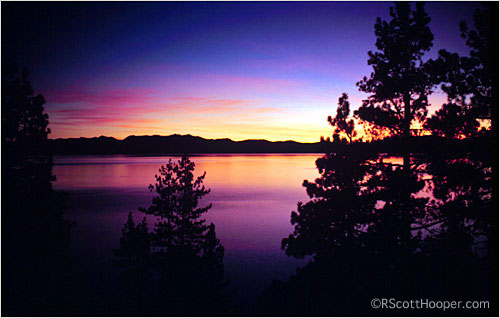 Photo of sunset on Lake Tahoe
