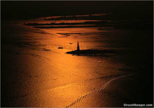 Photo of the Statue of Liberty taken from the World Trade Center