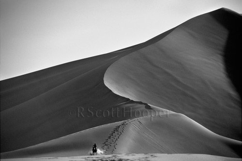 Photo of sand dunes with horse and rider in distance