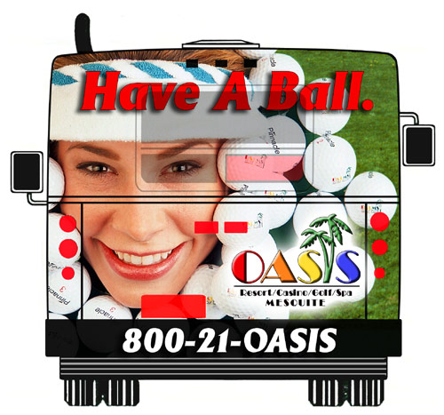 Photo of Oasis Hotel Bus back Advertising