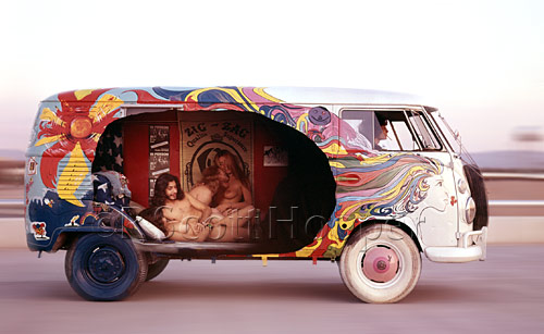 Photo of nude people in a psychedelic VW van