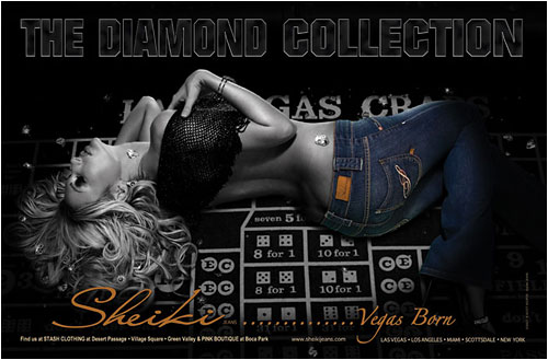 Model Jamie Villamor in Sheiki Jeans ad from 944 Miami Magazine