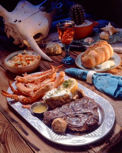 Photo of crab and steak dinner